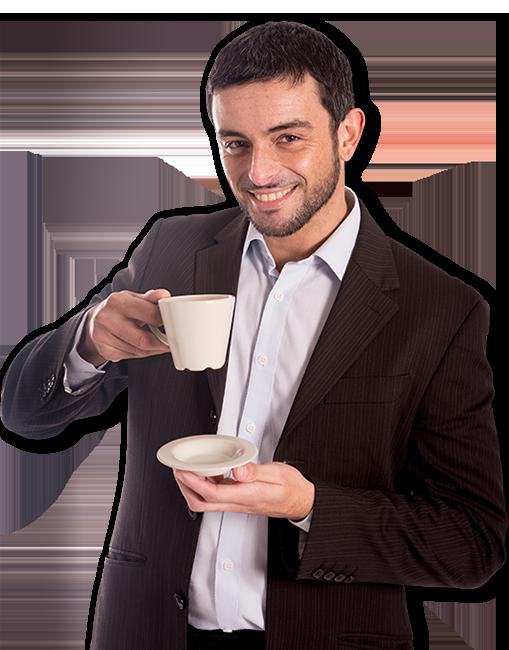 homme avec tasse de café